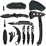 Blade Factory 7pc Tactical Set Full Tang Fixed Blade Knife Spring Assisted Multi Tool Pocket Knife Karambit Claw Knife Tomahawk Throwing Axe 3pc Throwing Knives Set   Holt Multi-Tool Key Chain