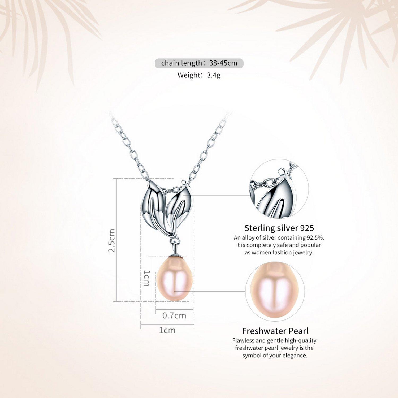 CS-DB Pendants Ribbon Heart White Pearl Silver Necklaces