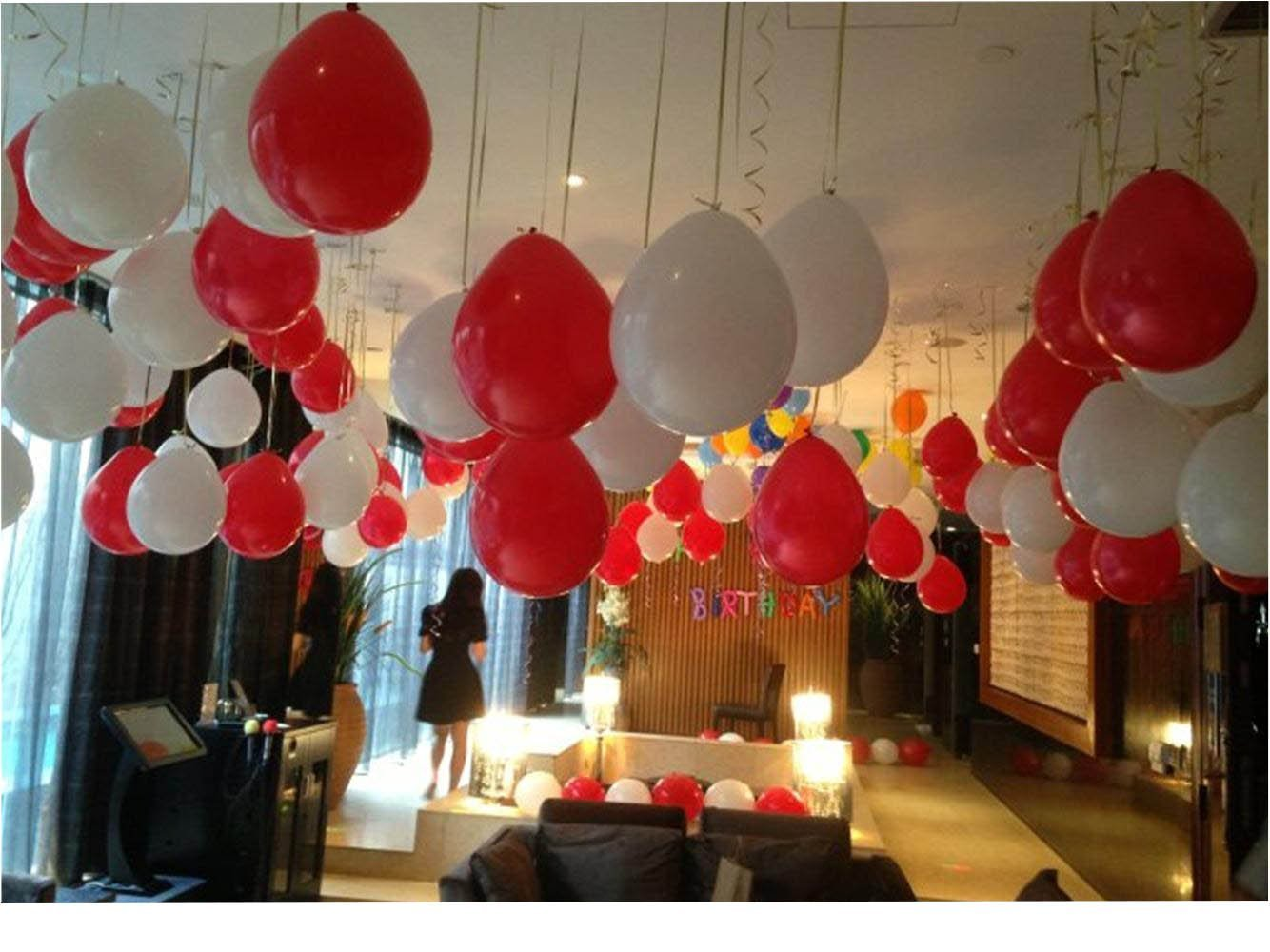 100 Premium Quality Balloons: 12 inch Red and white latex balloons/wedding/birthday party decorations and Events Christmas Party and etc. by KADBANER (Image #2)