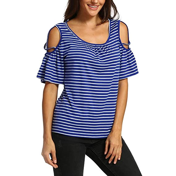 CICIYONER Verano de manga hombro, Camiseta de manga corta a rayas con hombros descubiertos Blusas