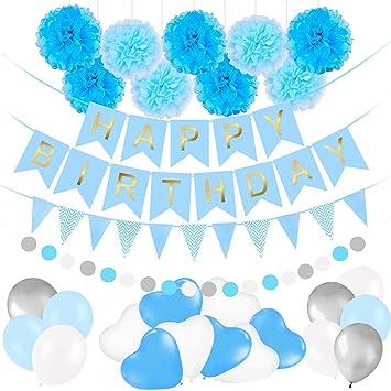 Bwiv Decoración Cumpleaños Globos Azules Niños, Banner de ...