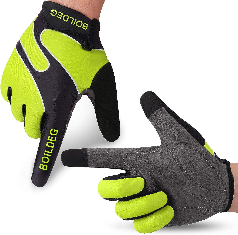 boildeg Cycling Gloves Mountain Bike Gloves MTB Gloves Bicycle Dirt Bike Gloves for Men Women Full Finger Touch Screen Biking Gloves Anti-Slip Shock-Absorbing Gel Pad Workout Gloves: Clothing