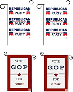 YANA FREEDOM Republican Party Garden Flag, Set of 4; Double Sided Premium Fabric, 12