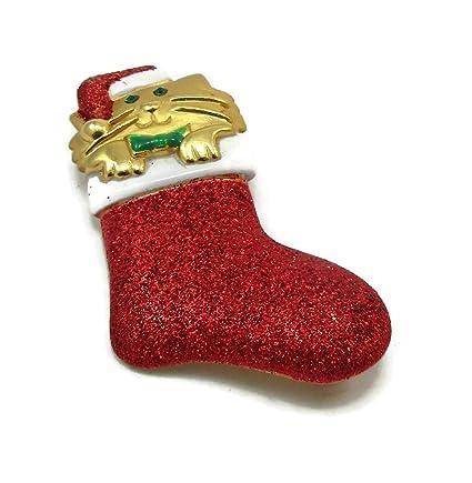 Amazon Com Ajc Christmas Pin Gold Tone Kitty Santa Hat Brooch