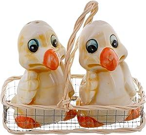 Ceramic Bird Salt and Pepper Shaker Collectors Kitchen Décor - Duck with Orange Beak