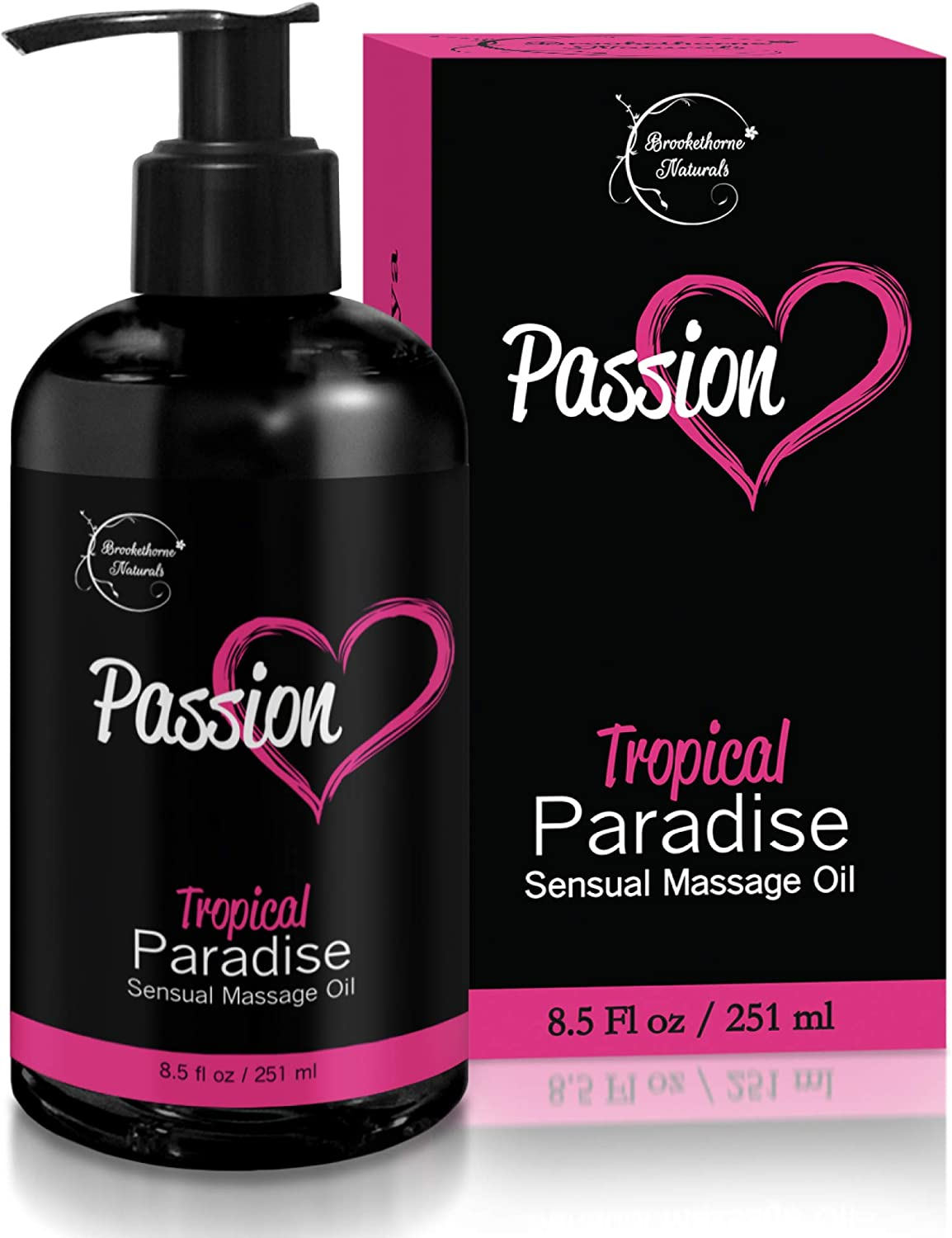 Passion Sensual Massage Oil for Intimate Moments & Enhanced Stimulation. All Natural, Tropical Paradise Scent with Almond & Jojoba Oil. Ideal for Full Body & Muscle Massage – for Women & Men - 8.5oz