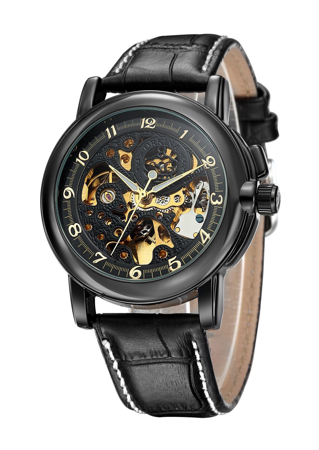 Carrie Hughes Men's Steampunk Skeleton Mechanical Stainless Steel Automatic Watch Leather Black CH25 3