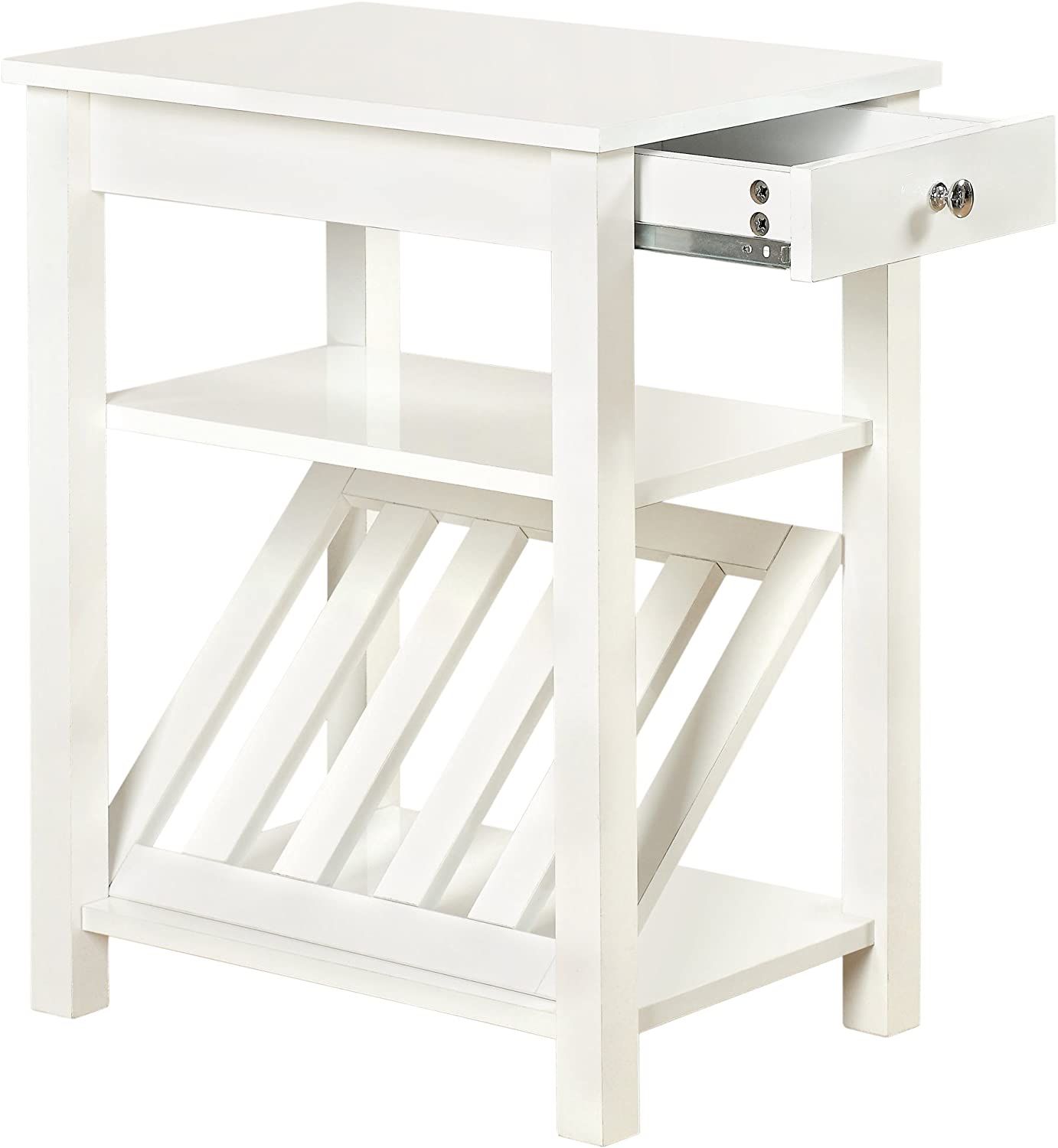 Furniture of America Erhart II 1-Drawer Side Table with Magazine Rack, White