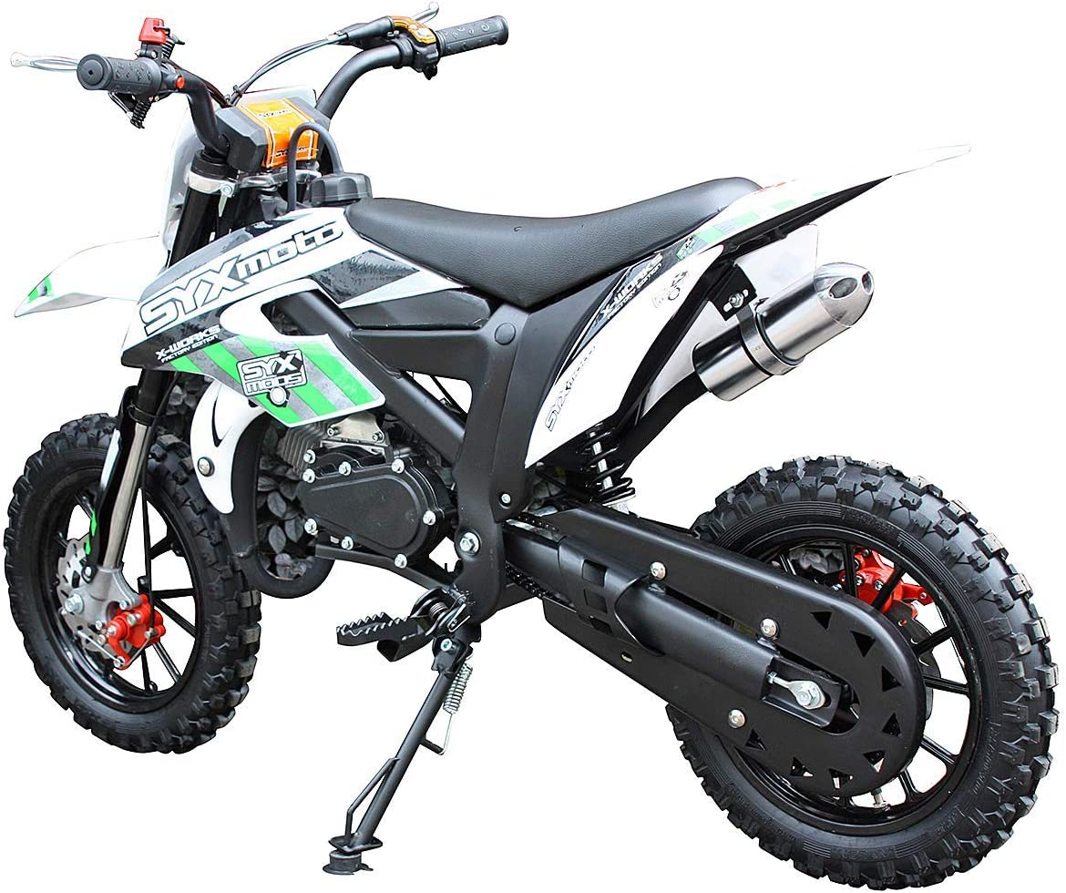 Pit Bike Fully Automatic Transmission,White with Yellow decal SYX MOTO Kids Dirt Bike Holeshot-X 50cc Gas Power Mini Dirt Bike 20inches Seat Height Dirt Off Road Motorcycle