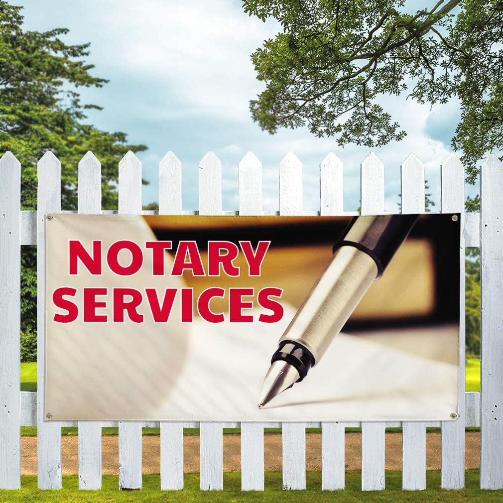 28inx70in Set of 2 4 Grommets Vinyl Banner Sign Notary Services Business Notary Services Marketing Advertising White Multiple Sizes Available