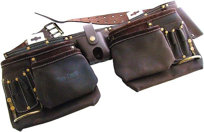 ba6cb49b7d452 Am-Tech Ceinture à outils 12 poches en cuir tanné à l'huile: Amazon ...
