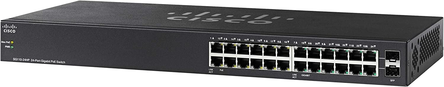 Cisco SG110-24HP Desktop Switch with 24 Gigabit Ethernet (GbE) Ports plus 100W PoE, Limited Lifetime Protection (SG110-24HP-NA)