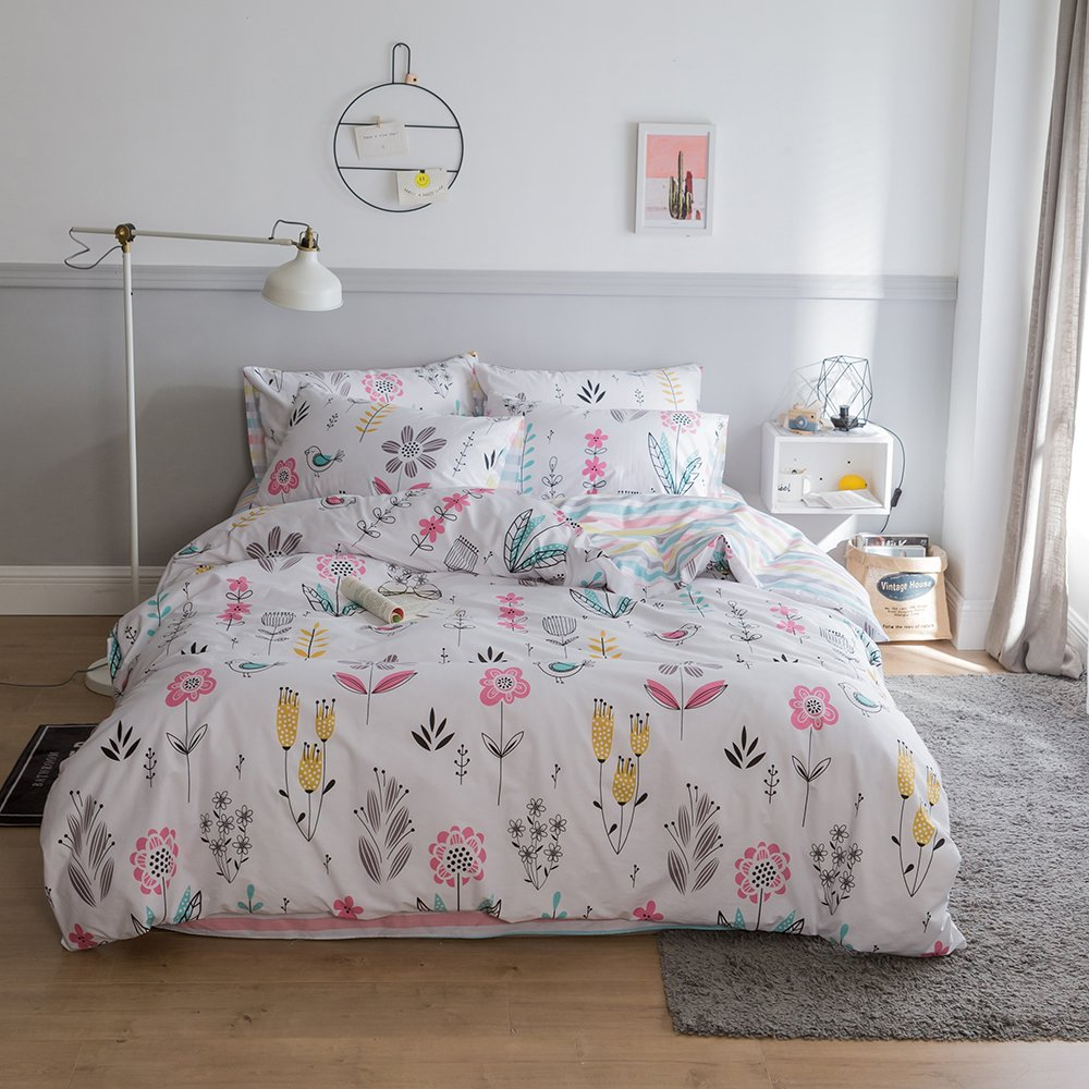 BuLuTu Floral Bird Print Pattern Girls Duvet Covers Queen White Premium Cotton Spring Blossom Colorful Reversible Kids Bedroom Comforter Cover Full Bedding Sets Zipper for Teen Toddler,NO Comforter by BuLuTu (Image #2)