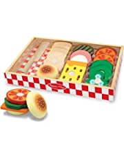 Melissa & Doug Sandwich-Making Set, Wooden Play Food, Wooden Storage Tray,, 16 Pieces, 4.445 cm H × 22.86 cm W × 33.02 cm L