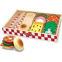 Melissa & Doug Juego para hacer sándwiches, comida de juguete en madera, bandeja de madera para almacenamiento, materiales de alta calidad, 16 piezas, 4.445 cm alto × 22.86 cm ancho × 33.02 cm largo