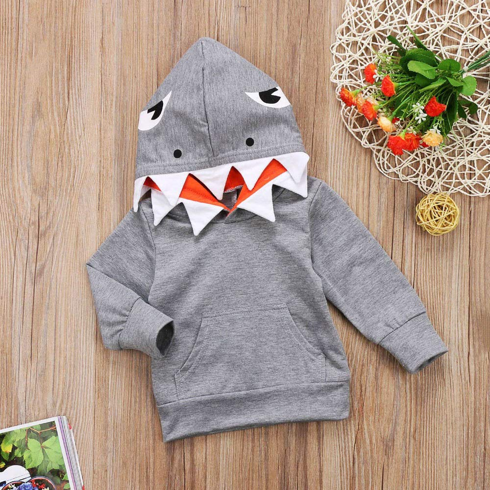 LIKESIDE Toddler Baby Kids Boys Girls Long Sleeves Cartoon Shark Hooded Top Clothing
