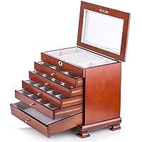 Large Wooden Jewellery Box Armoire Earrling Bracelet Organizer 6 Layers Mirror Lock Key Black Brown White Tiffany Blue MG016