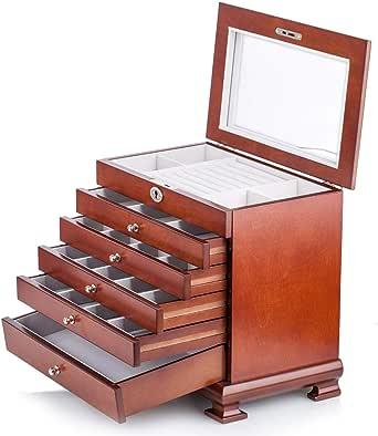 Large Wooden Jewellery Box Armoire Earring Bracelet Organizer 6 Layers Mirror Lock Key Black Brown White Tiffany Blue MG016