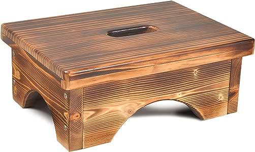 ECROCY Taburete de madera para mesita de noche para interior y exterior, para cocina, baño, dormitorio, jardín, niños o adultos – 16.5 pulgadas x 11.8 pulgadas x 6.1 pulgadas taburete portátil de