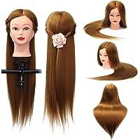 LuckyFine 18'' Cheveux Brun Salon de Coiffure Modèle Mannequin Tête d'exercice Femme + Support
