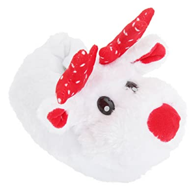 Amazon.com | Childrens/Kids Fluffly Reindeer Christmas Slippers ...