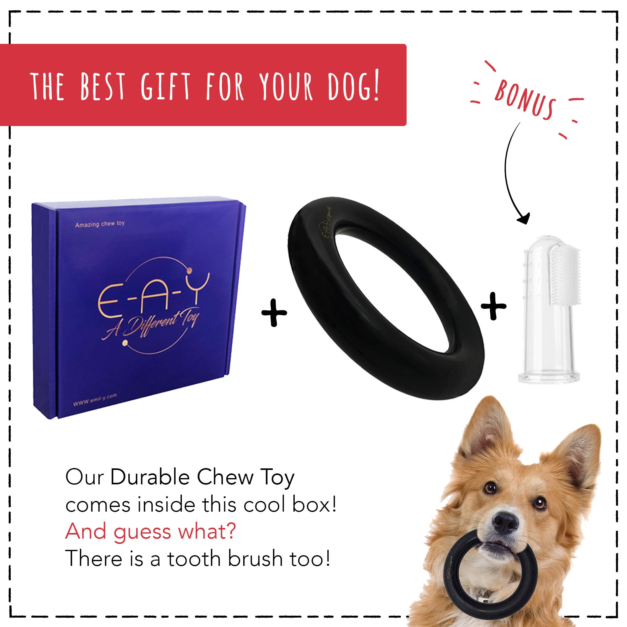E-A-Y Dog Toys for Aggressive Chewers - Durable Chew Toy - Rubber Chew Toy for Dogs & Puppies & Tough Strong Durable Natural Rubber - 100% Safe & Non-Toxic & Stylish Gift Box !!!