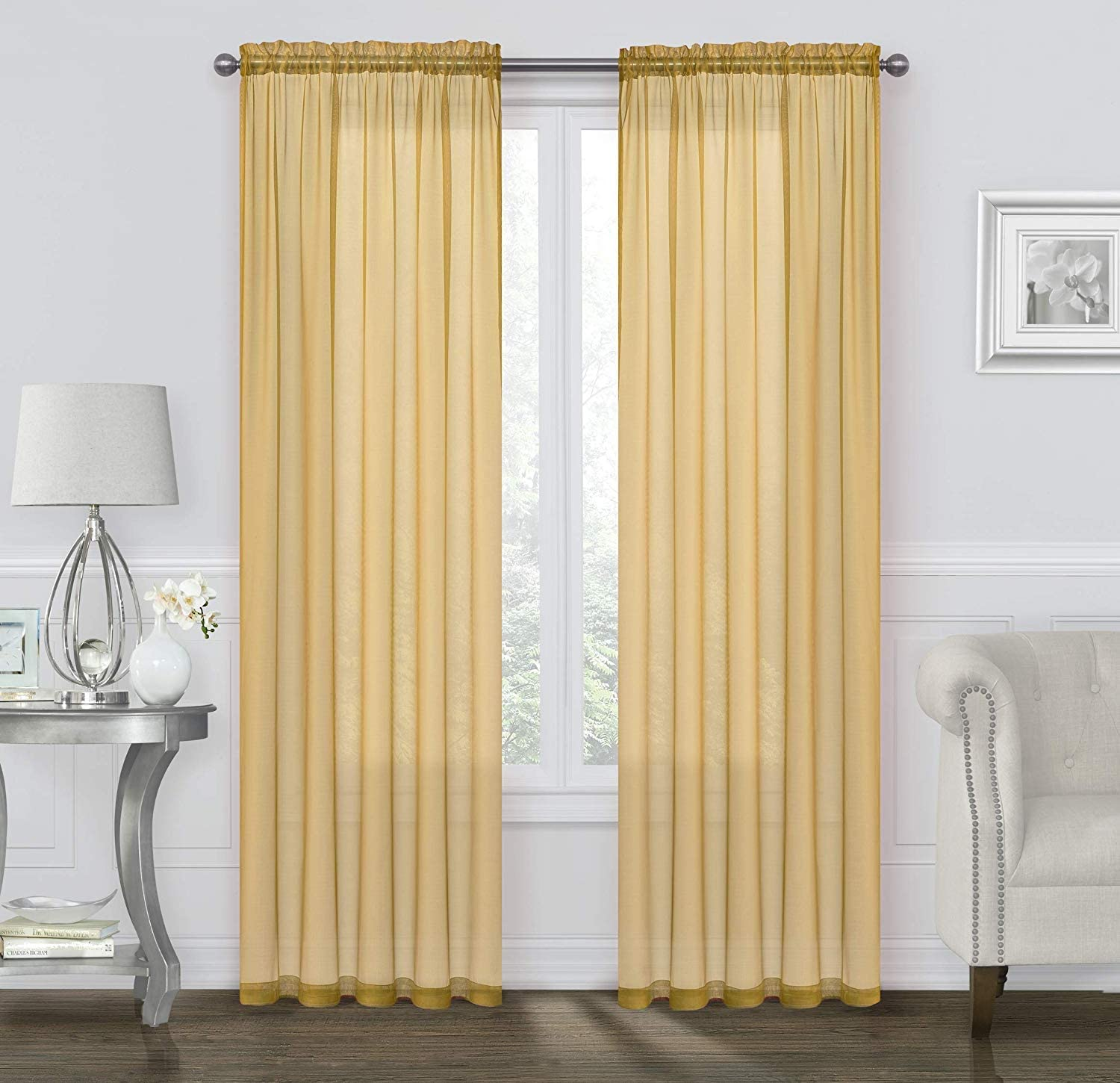 Basic Rod Pocket Sheer Voile Window Curtain Panels Baby Blue, 63 in. Long Pair Assorted Colors /& Sizes GoodGram 2 Pack