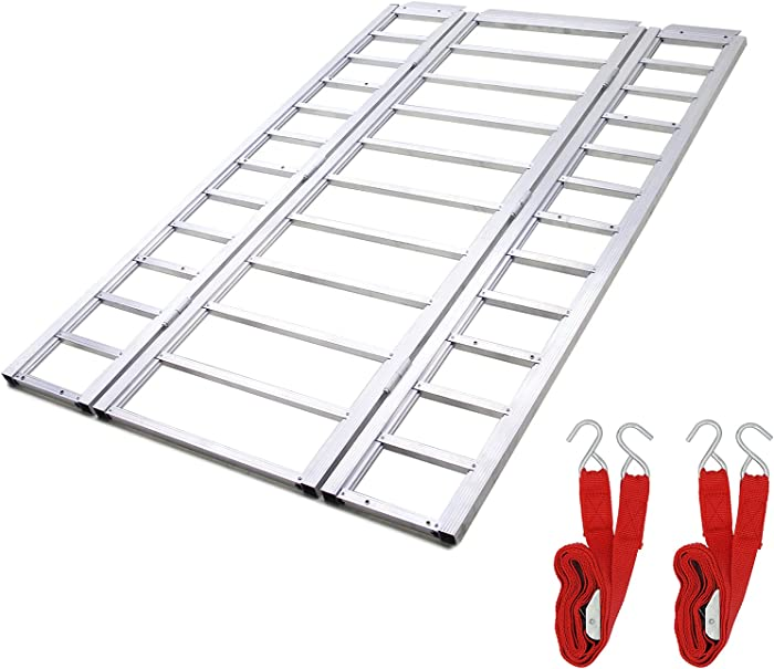 Ruedamann 85'' x 54'' Aluminum Tri-Fold Loading Ramp, Foldable Loading Ramp for Lawnmowers,ATVs,UTVs, Motorcycles,Trucks etc, Snowmobile Loading Ramp with Multi-use,Holds up to 1500 lbs