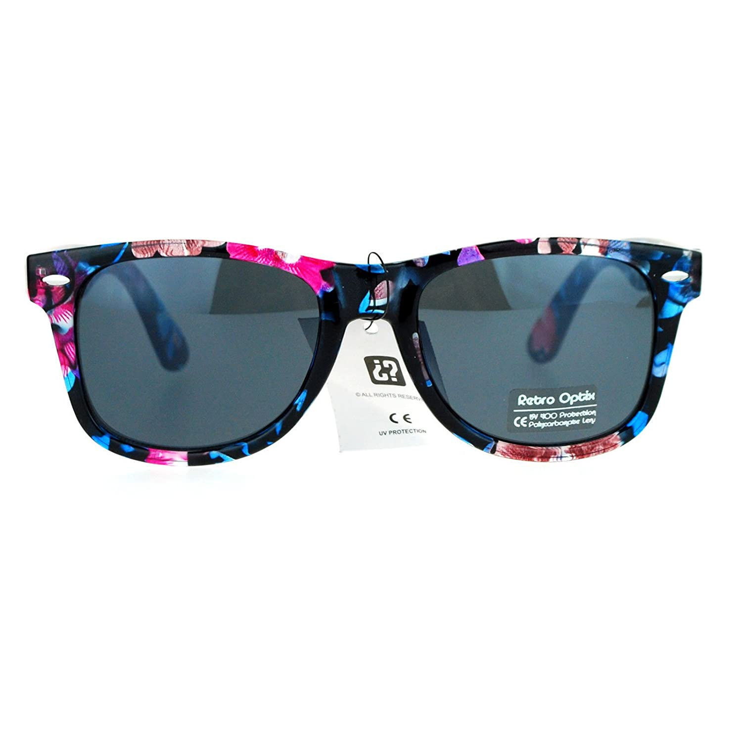 73fafc71131 Amazon.com  Floral Flower Print Sunglasses Classic Designer Fashion Square  Frame Blue Purple  Clothing