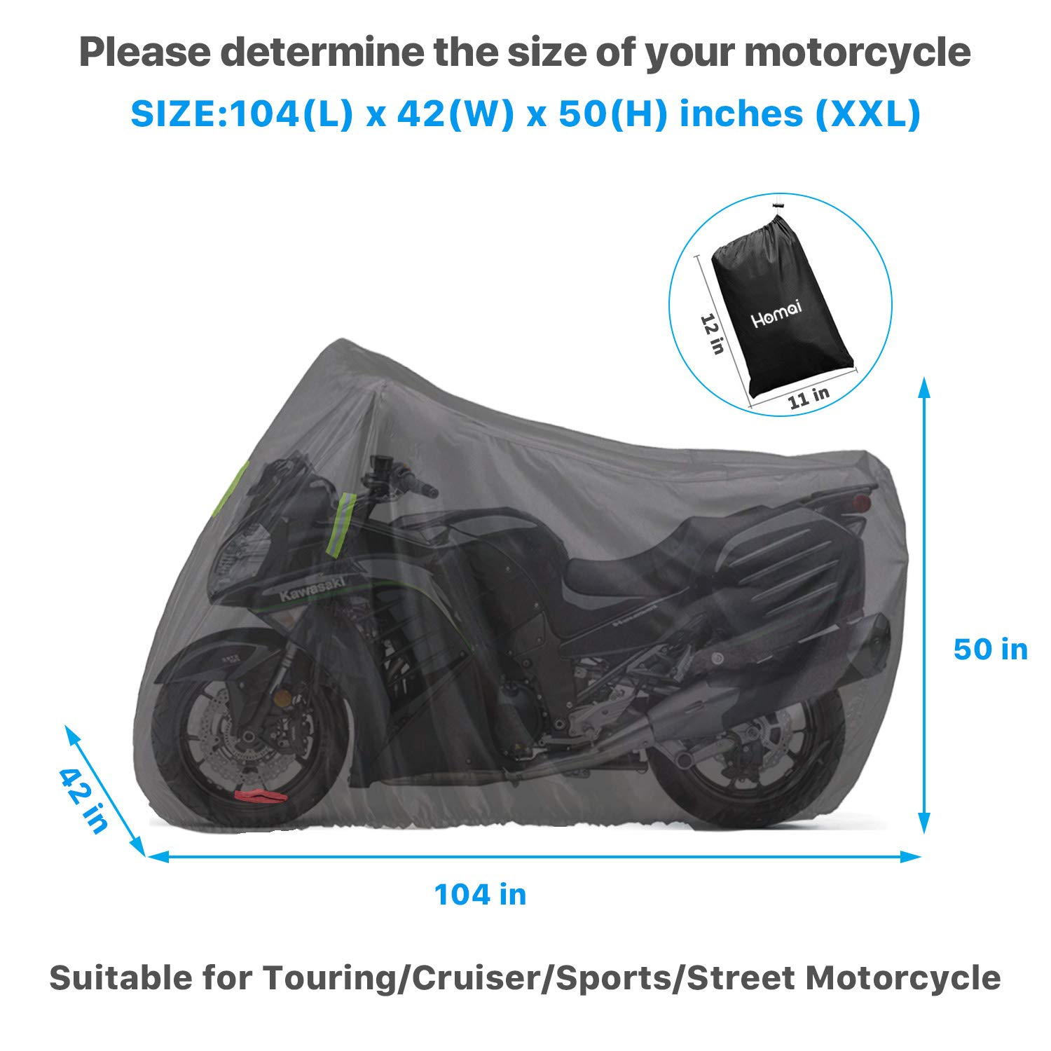 Yamaha Waterproof Durable /& Tearproof All Weather Outdoor Protection Fits up to 104 inches XXL Motorcycles Like Honda Suzuki Homai Motorcycle Cover Harley and More