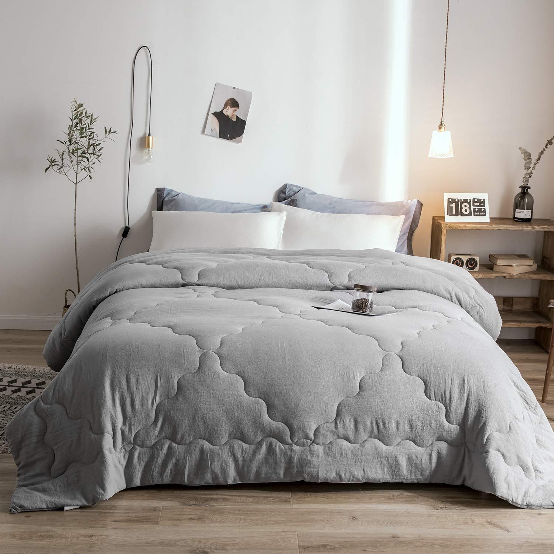 Melody House Down Alternative Comforter Duvet Insert for All Season Warm Super Soft Hypoallergenic, Grey, Queen