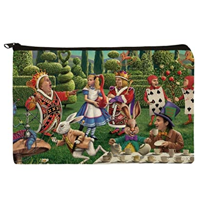 alice in wonderland garden party pencil pen organizer zipper pouch case - Alice In Wonderland Garden