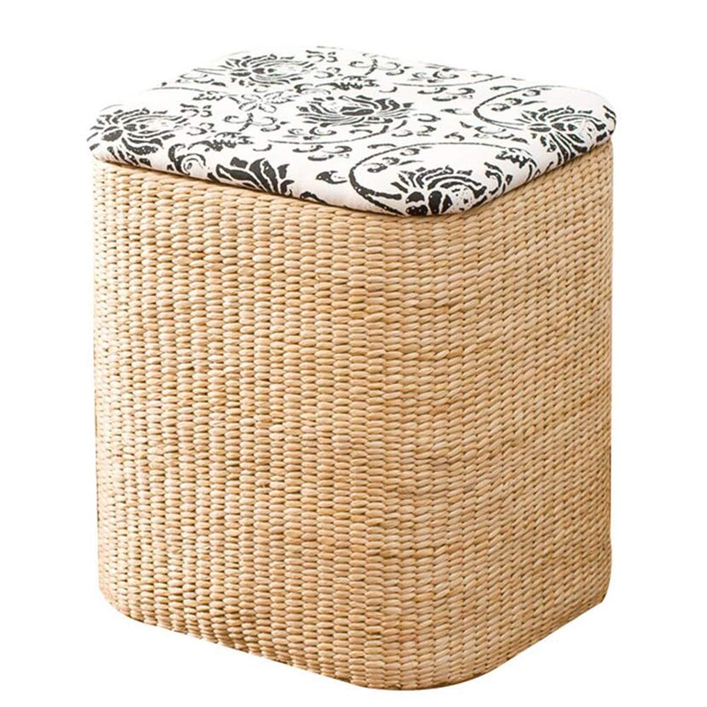 B-square-cloth Small Stools Footstool Step Stool Vine Straw Storage Sort Out Covered Wholesale Footrest Sofa Can Sit Toy CONGMING (color   A-Round-Grass, Size   Large)