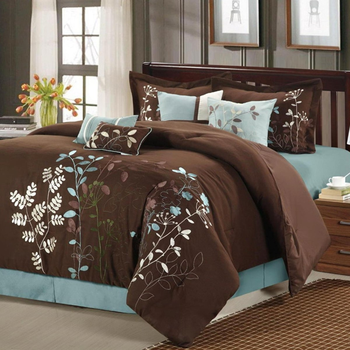 Chic Home Bliss Garden 8 Piece Embroidered Comforter Set, Queen, Brown