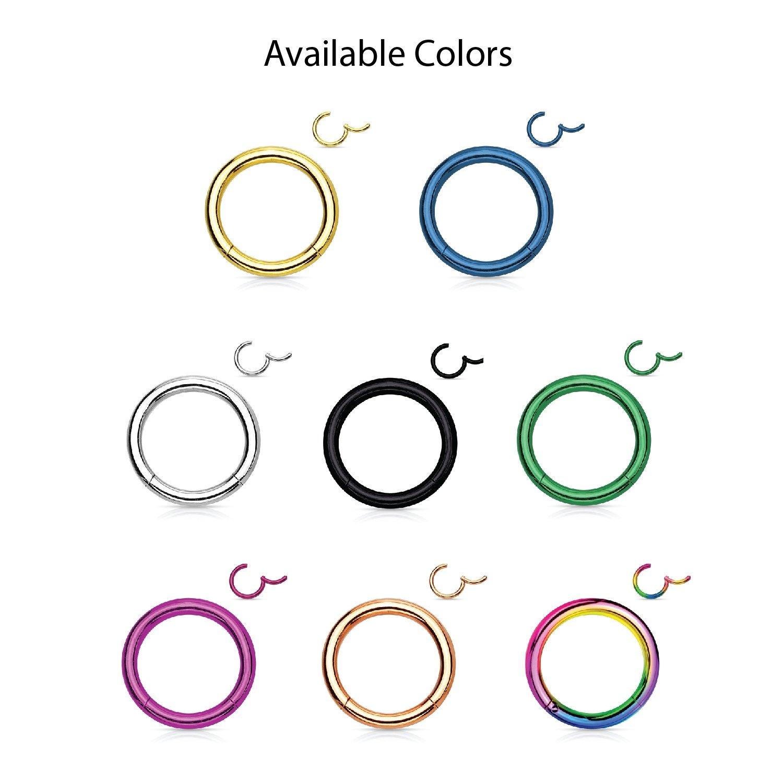 Hinged Clicker Nose Hoop Segment Ring 16G (6mm) Surgical Steel 16 Gauges Sleeper Earrings Piercing BodyJ4You NR0227-ST