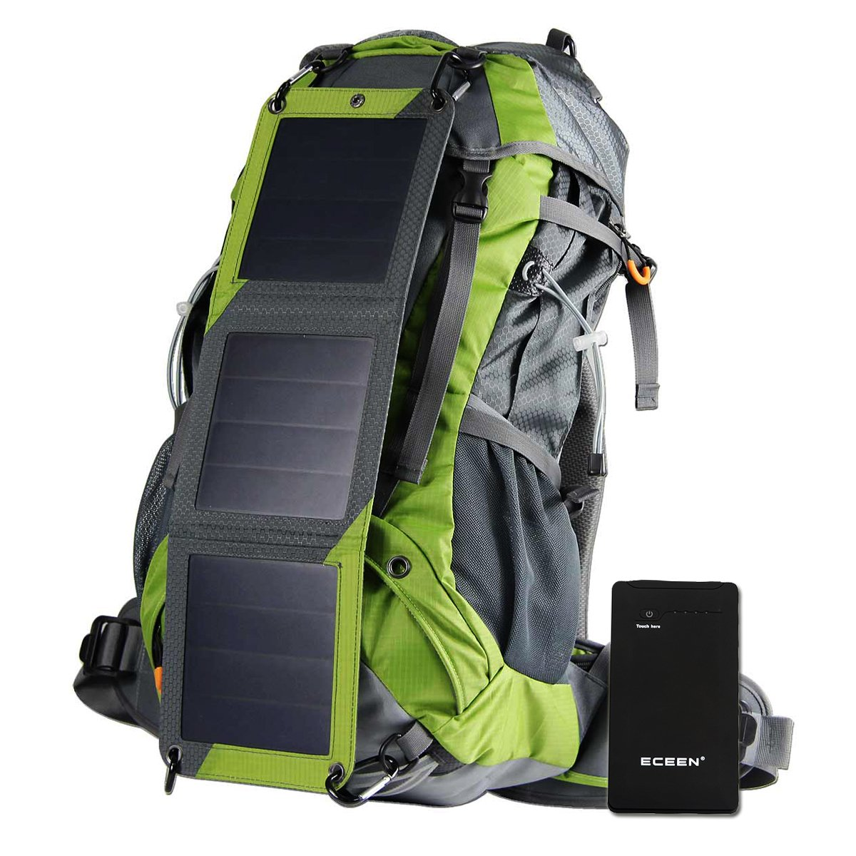 External Frame Backpack with Solar Phone Charger, 10000mAH Battery Pack for IOS iPhone Samsung Android Smartphones, 2L Hydration Pack, Rain Cover for Backpacking Camping Mountaineering Climbing Voyage Outdoor Sports ECEEN