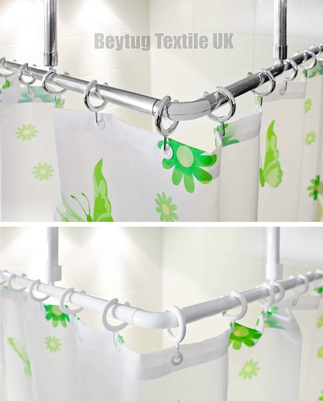 Corner Shower Curtain Rail/Rod 120 x 120CM, L shape, 2 x ceiling ...
