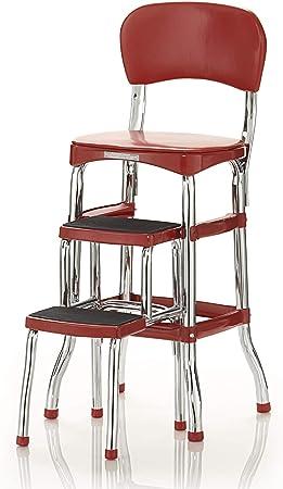 Cosco 11120RED1E Retro Counter Chair/Step Stool, Sliding, Red