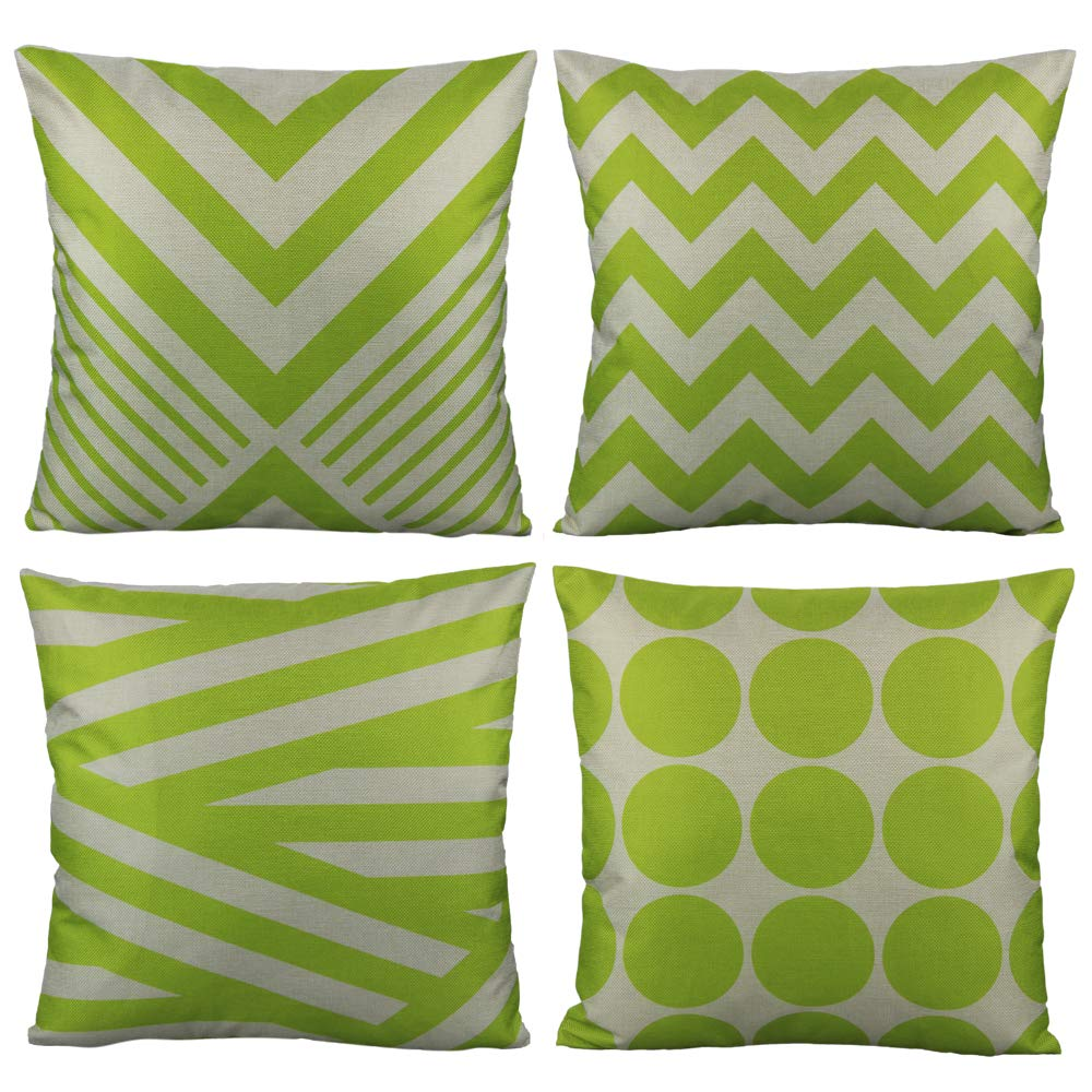 All Smiles Outdoor Green Decorative Throw Pillow Covers Cases Cushion Home Decor Accent Square 20 x 20 Set of 4 for Patio Couch Sofa,Lime Green Geometric
