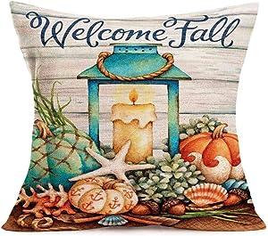 "Tlovudori Welcome Fall Blessing Quote Pillow Cover Autumn Harvest Pumpkins Ocean Beach Nautical Oil Lamp Starfish Shell Cotton Linen Throw Pillow Case Retro Wood Sofa Cushion Cover 18""x18"" (PO-Beach)"