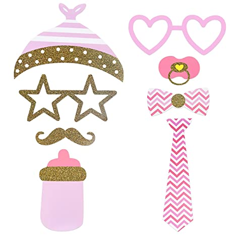 LUOEM Baby Shower Photo Props 29PCS Pink and Gold Girls Baby Shower Photo Booth Apoyos Es una niña Baby Shower Decorations Kits: Amazon.es: Juguetes y ...