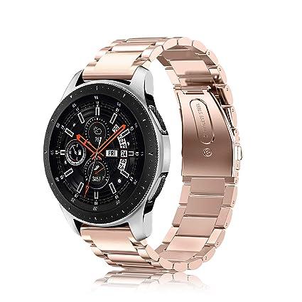 Fintie Correa para Samsung Galaxy Watch 46mm / Gear S3 Classic/Gear S3 Frontier - 22mm Pulsera de Repuesto de Acero Inoxidable, Oro Rosa
