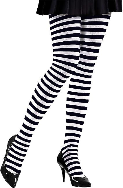 Gestreifte Damen Strumpfhose Ringel-Strumpfhose Feinstrumpfhose Schwarz-Weiß