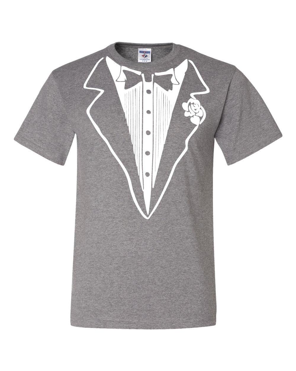 Tuxedo Funny T-Shirt Tux Bachelor Party Wedding Groom Tee Shirt Gray M