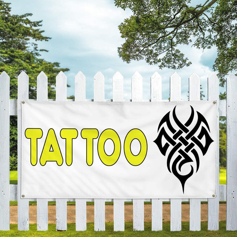 Vinyl Banner Multiple Sizes Tattoo Outdoor Advertising Printing v Business Outdoor Weatherproof Industrial Yard Signs White 10 Grommets 60x144Inches
