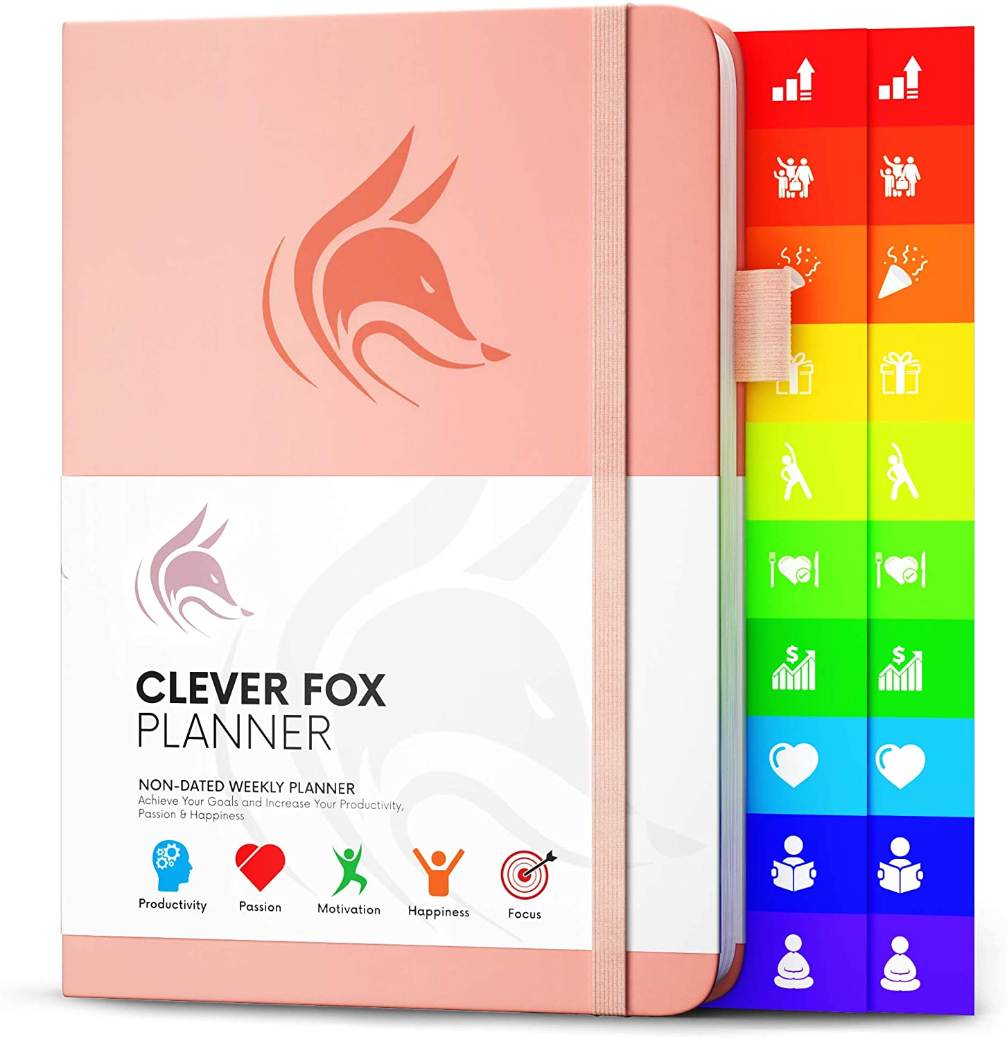 Clever Fox Planner - Weekly & Monthly Planner to Increase Productivity, Time Management and Hit Your Goals - Organizer, Gratitude Journal - Undated, Start Anytime, A5, Lasts 1 Year, Peach Pink(Weekly)