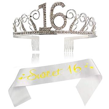 Amazon.com: Corona de satén y tiara de 16 cumpleaños para ...
