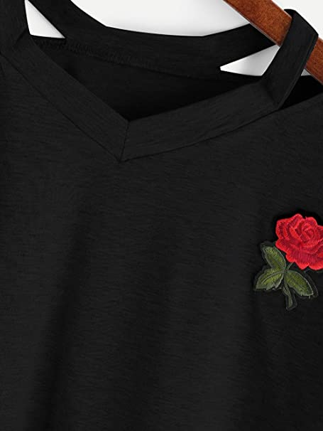 8ecf3af29c2 Amazon.com: Bestag Embroidery Teen Girls Rose Crop Top Slim Tees Short  Sleeve T-Shirt: Clothing