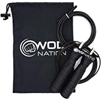 WOD Nation Attack Speed Jump Rope : Adjustable Jumping Ropes : Unique Two Cable Skipping Workout System : One Thick and…