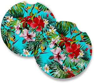 Tropical Red Hibiscus | Car Coasters for drinks Set of 2 | Perfect Car Accessories with absorbent coasters. Car Coaster measures 2.56 inches with rubber backing.
